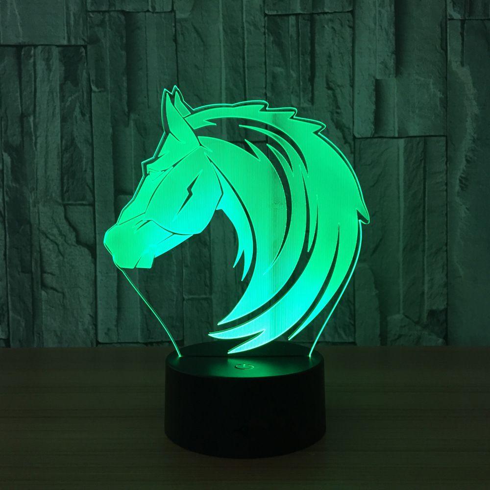 3D Horse Head Illusion Lamp Night Light DC 5V USB Charging AA Battery Wholesale Dropshipping Retail Box