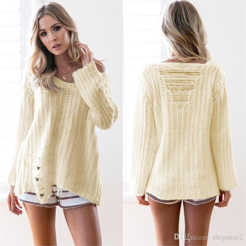New Stylish Women Pullover Sweater Solid Long Sleeve Knitted Jumper