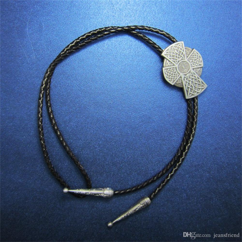 Nuevo Vintage Celtic Iron Bolo Tie cruz collar de cuero de boda BOLOTIE-WT060AS envío gratis a estrenar en stock