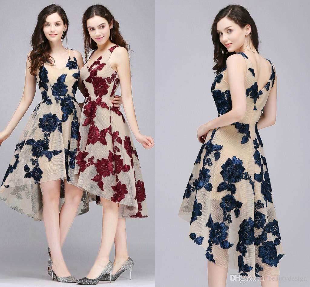 Simple Elegant Burgundy High Low Cocktail Dresses 2018 Dark Navy New ...