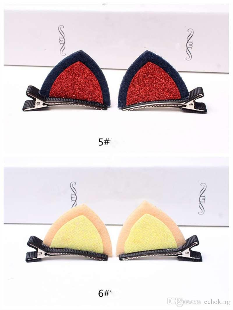 Fashion Stereo Double Cat Ear Clip With Sequins Ears Kid's Hair Clip Sweet Of Fan Cute Shape Hairpins Children Accessories