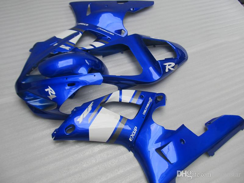 High quality Fairing kit for Yamaha YZF R1 2000 2001 blue white fairings set YZFR1 00 01 OT11