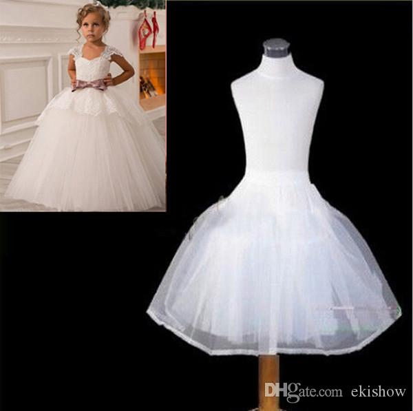 2017 Latest Children White Petticoats Wedding Bride Accessories 2 hoops 2 Layers Little Girls Crinoline Long Flower Girl Dress Underskirt