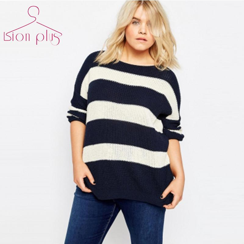 3fb1aebf49364 Wholesale Striped Pullover Sweater Women Plus Size 6XL 5XL 2016 Autumn  Black White Hit Color Fashion Streetwear Sweaters European Clothing UK 2019  From ...