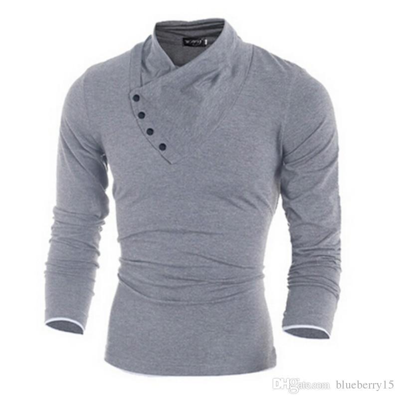 b219bd5c4b Maglietta colletto con bottoni oblique in cotone 100% Autunno Uomo T-shirt  uomo manica lunga T-Shirt t-shirt slim fit