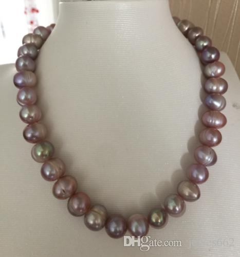 FREE SHIPPING>>gorgeous 10-11mm south sea baroque lavender pearl necklace 18inch 14k