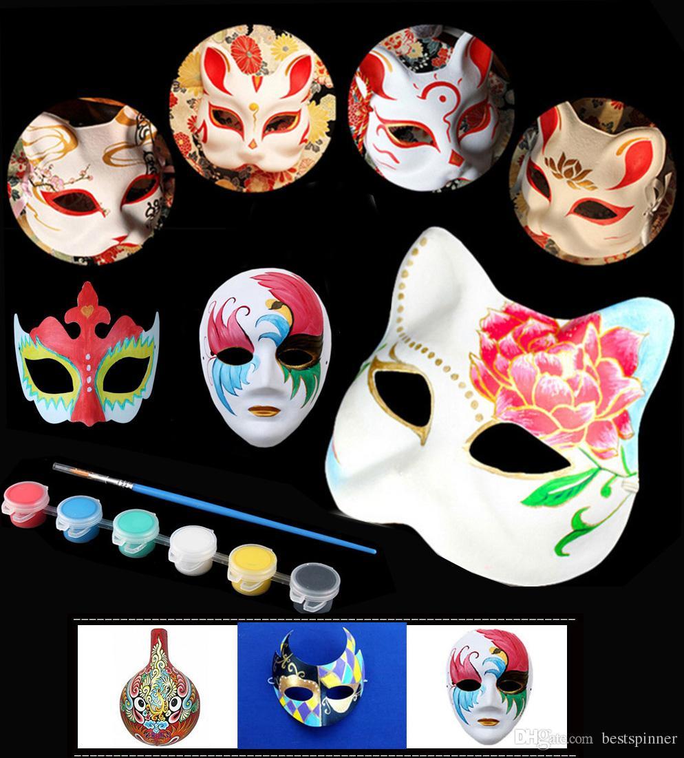 Diy Için Boş Maske Boyama Seti Kağıt Maske Cadılar Bayramı Noel Dans Masquerade Parti Cosplay Kostüm çocuklar Için Yetişkin Boya Ve Maske