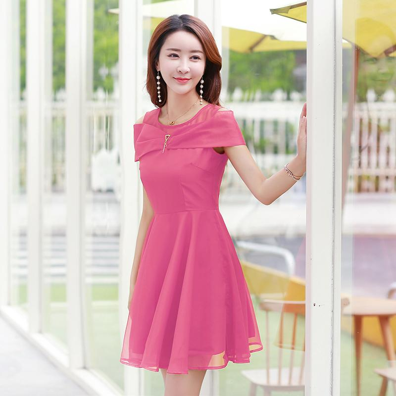 2017 New Korean Dresses Summer Fashion Short Sleeve O Neck A Line Dress Sexy Elegant Women Chiffon Causal 5 Sizes Long Evening Red