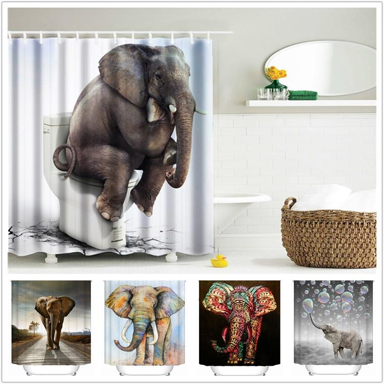 2017 wholesale 3d printing shower curtains 150x180cm elephant