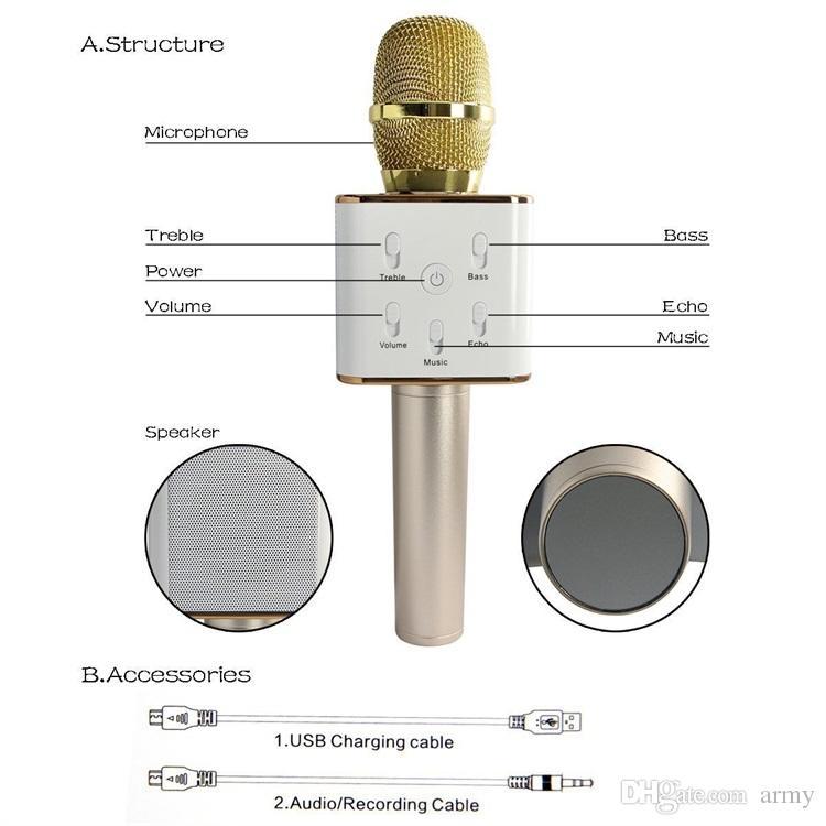 Q7 핸드 헬드 마이크 스피커와 블루투스 무선 KTV 마이크 Microfono 핸드 헬드 스피커 스마트 가라데에 대한 휴대용 가라오케 플레이어