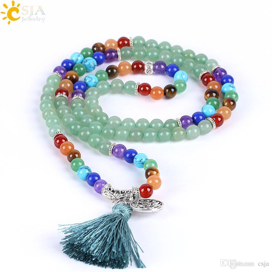 CSJA 108 Natural Green Aventurine Jade Handmade Beads Jewelry Long 7 Chakra Healing Point Balance Gemstone Stone Beaded Mala Bracelet E658