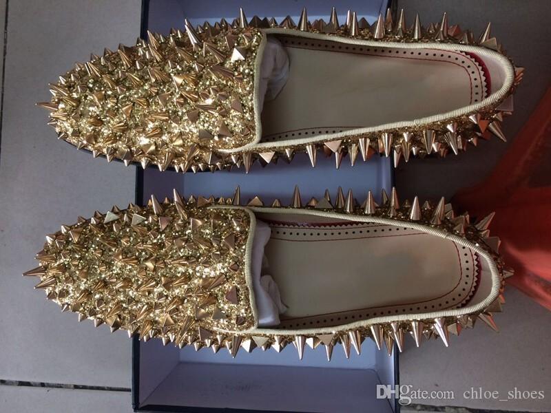Vermelho Bottom Homens Shinny Glitter Flats Sapatos Black Sliver Gold Spiked Mens Locais Locais Rebites Rebites Homens Casuais Sapatos Real Pics Tamanho 38-46