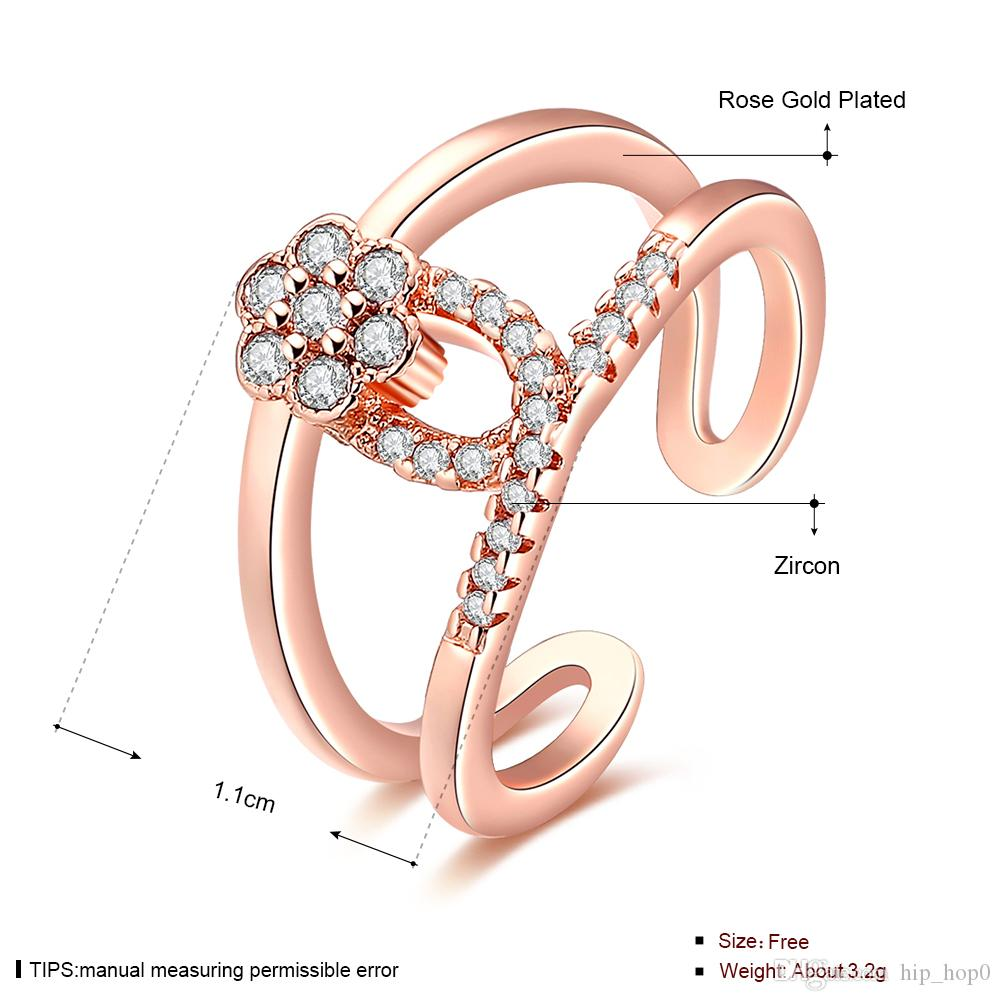 18k Gold High-Grade Crystal Hot Statement Jewelry Rings Creative Flower Inlaid Stone Zircon Ring Noble Women Ring Lover Gift Ring-Opened
