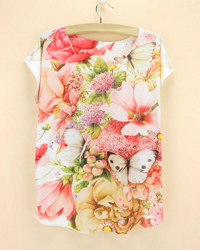 9de70df35a2 Wholesale-Plus Size Dress T-shirt Women New Summer 2015 Fashion Design  Flowers Print Top Tees Girl Tshirt Wholesale Price Dress Long Sleeve Tunic  Dress ...