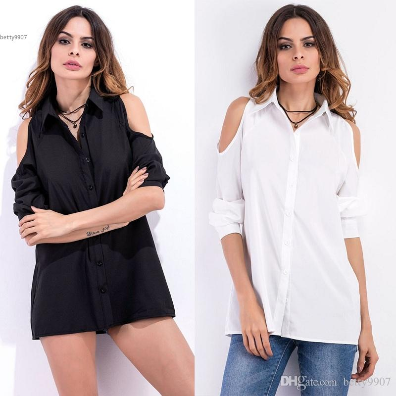 d42fd8a56043a 2019 New 2018 Blouse Top Women S Cold Shoulder Long Shirt Solid Long Sleeve Button  Down Collar Fitness Spring Autumn Black White From Betty9907