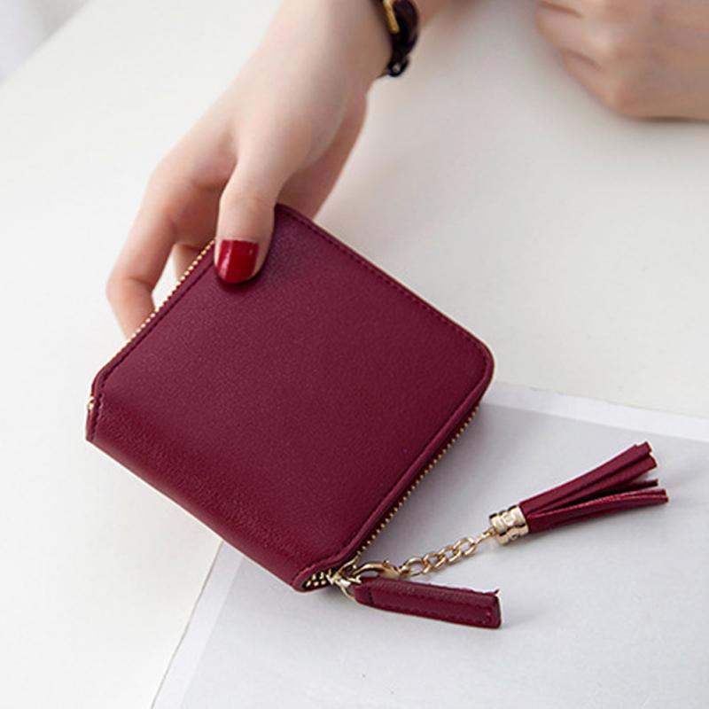 3d1464973c3 Wholesale Hot Fashion Mini Clutch Bag Square Women Zipper Coin Purses  Holders Wallet Female Leather Tassel Pendant Money Wallets My Wallet Womens  Wallets ...