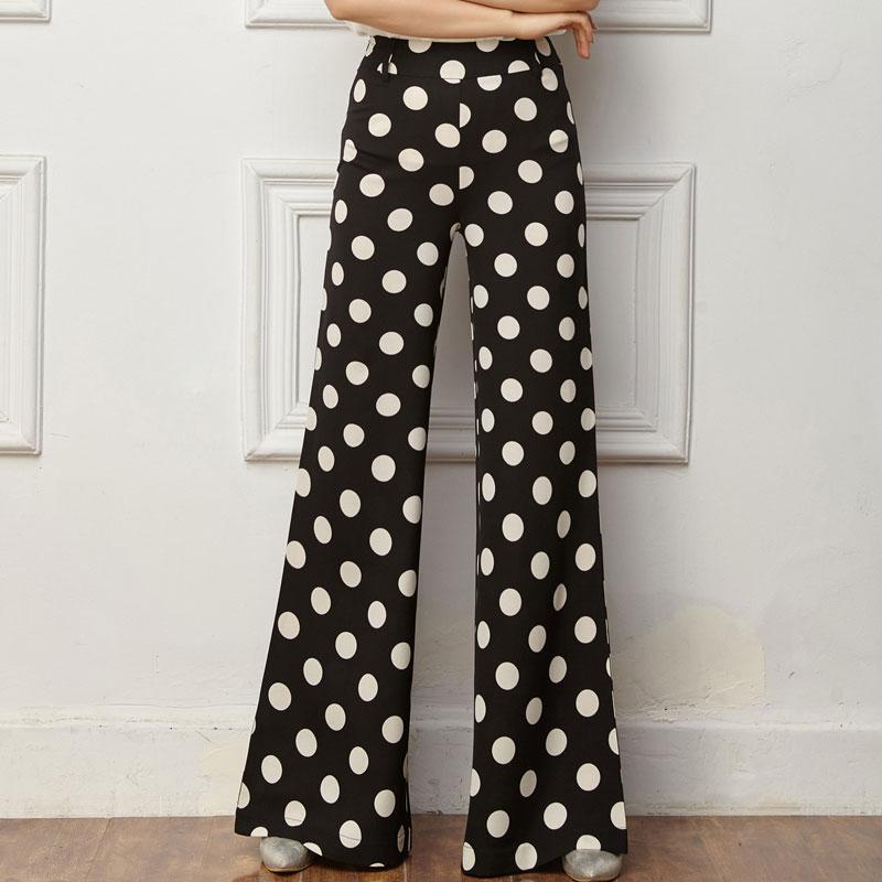 2017 2017 Fashion Women'S Printed Wide Leg Pants New Polka Dot ...