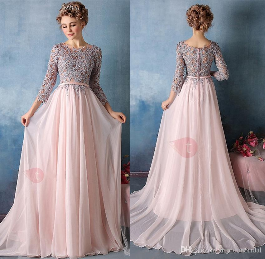 Exquisite Evening Gowns A Line Scoop 3/4 Length Sleeves Appliques ...
