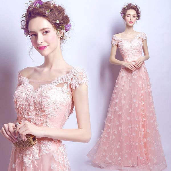 Compre Vestido De Novia De Encaje Rosa Nupcial Una Línea Sin Cuello ...