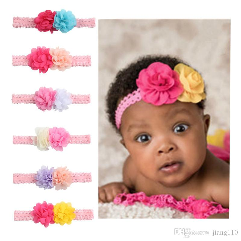3d6f9c2893f Two Flowers Hair Band Chiffon Children Elastic Head Band Infant Flower  Headband Baby Girl Photo Prop Kids Shower Hair Accessories Yellow Hair  Accessories ...