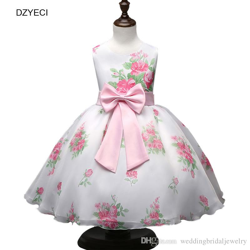 2019 Ceremony Flower Bow Dresses For Girl Costume Fashion Teenager Children  Deguisement Frock Kid Ball Gown Floral Wedding Prom Costume From ... 2ed8ef462184