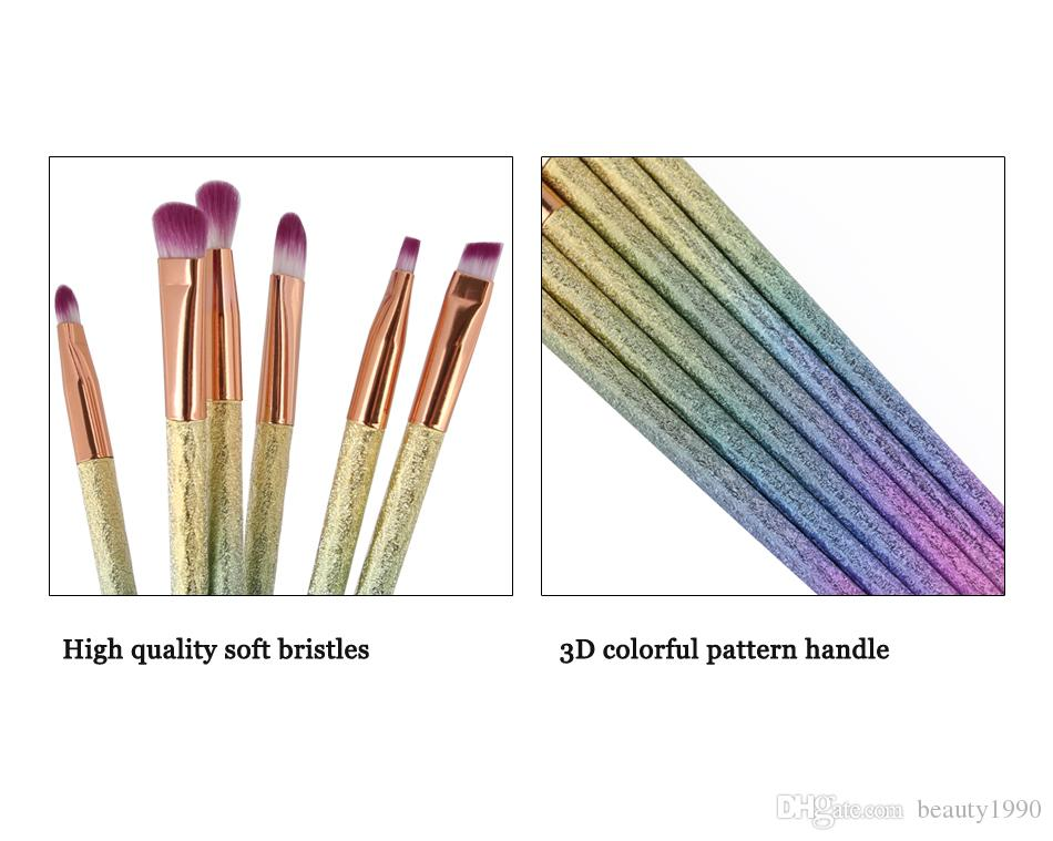 Eyebrow Makeup Brushes Set Portable Lip Eyeshadow Eyeliner Eyelid Blooming Cosmetic Tool 3D Colorful Handle Blending Brush 2017