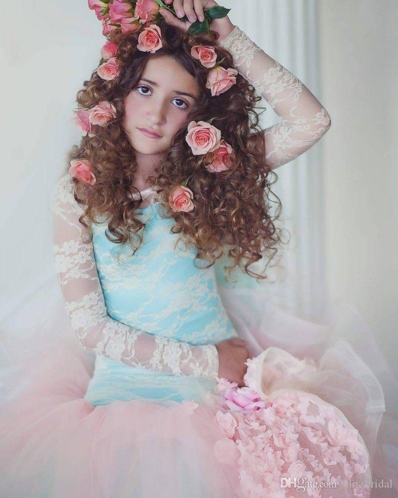 Elegant Long Sleeve Mermaid Princess Flower Girl Dress Embroidery Flower Teenager Girl Party Gown Lace Open Back Flower Girl Dress