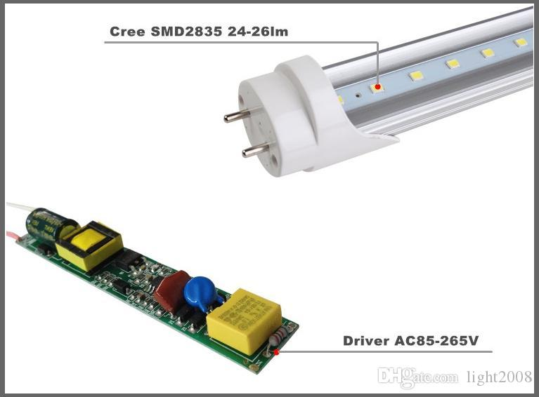 ABD + 4ft led tüp 18 W 22 W Sıcak Soğuk Beyaz stok 1200mm 4ft SMD2835 96 adet Süper Parlak Led Floresan Ampuller AC85-265V UL