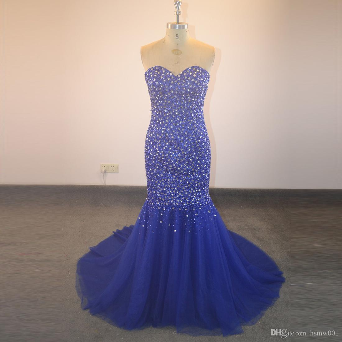 Luxury Mermaid Tulle Beading Crystal Sweetheart Royal Blue Formal Evening Gown Long Evening dress Prom dress new style