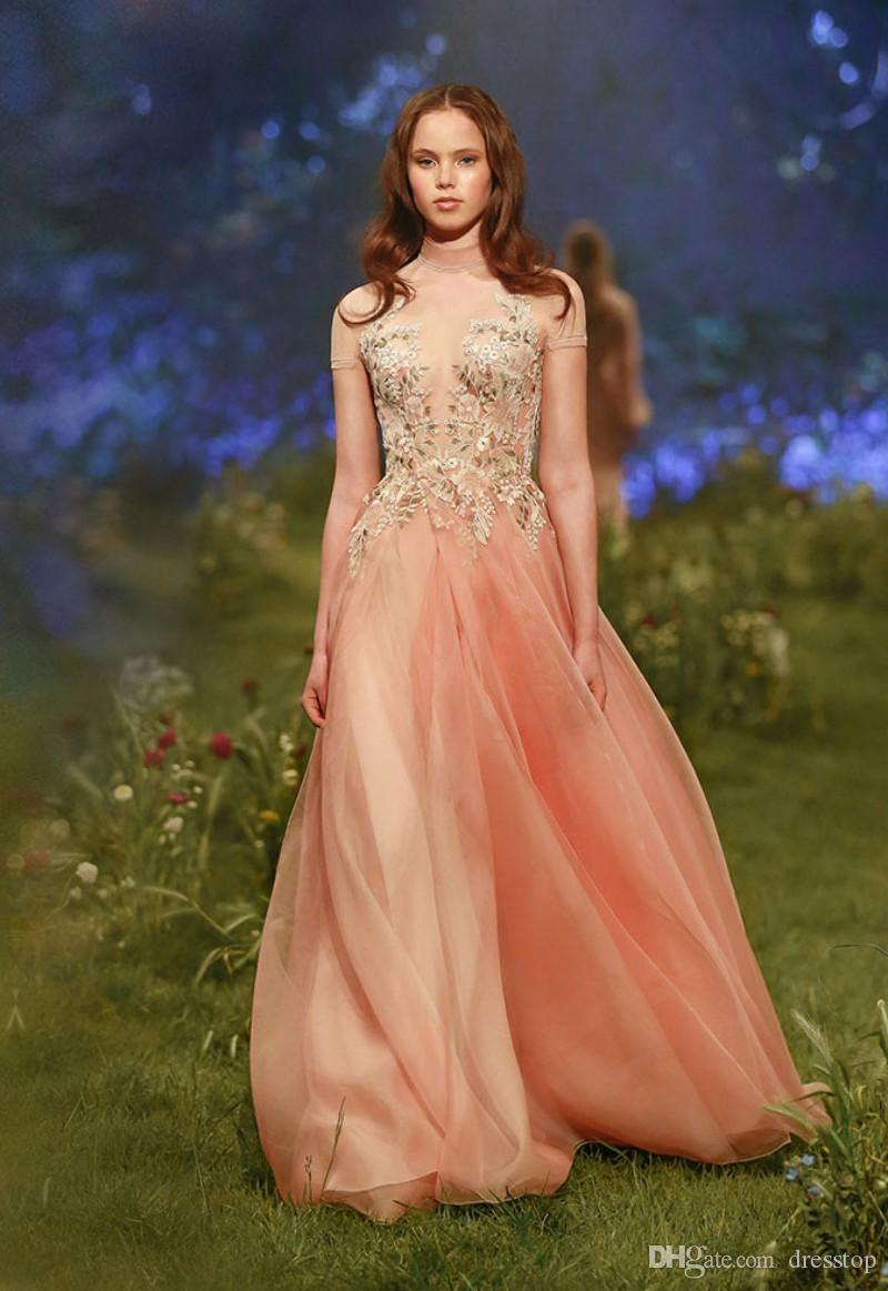 Paolo Sebastian Evening Dresses With Short Sleeves High Neck Prom Gowns A-Line Appliqued Organza Pleated Formal Dress