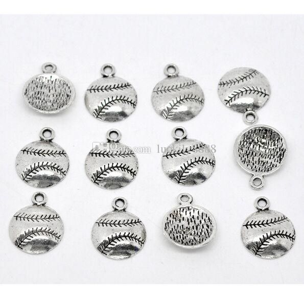 Antique Silver Baseball Sports Charms Pendants Jewelry DIY Jewelry Findings Components 14.5x18 mm