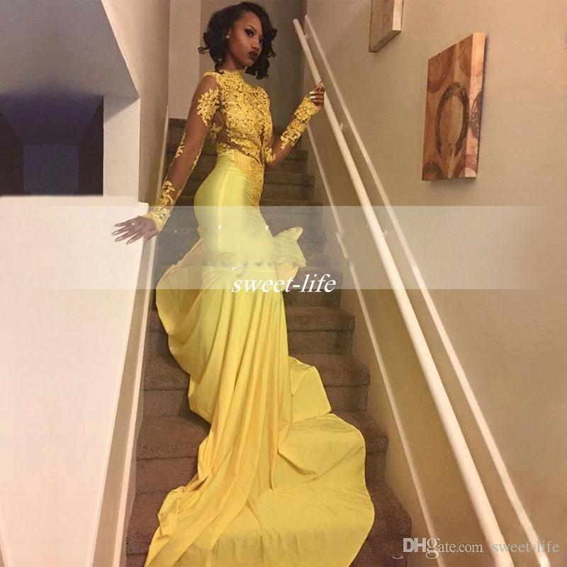2017 Pretty Yellow African Lace Appliqued South African