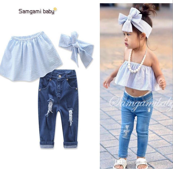 ad01e172f06 Baby Outfits Headband Summer Striped Strapless Tops Denim Jeans Pants Girls  Clothing Sets Suit Ins Clothes Girls Clothes Lace Summer Dresses Cheap  Dress In ...