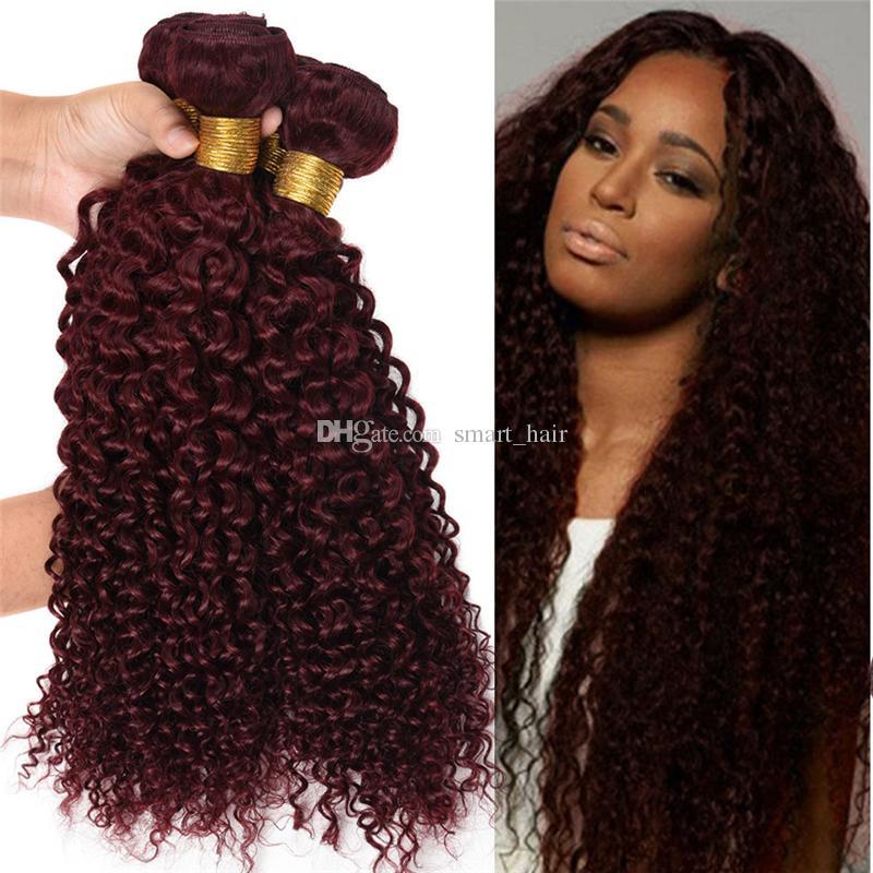 Vin rouge armure de cheveux 99J Bourgogne péruvien crépus bouclés trames de trame de cheveux humains Extraits de cheveux vierges bouclés crépus tissages péruviens 10 '' - 30 ''