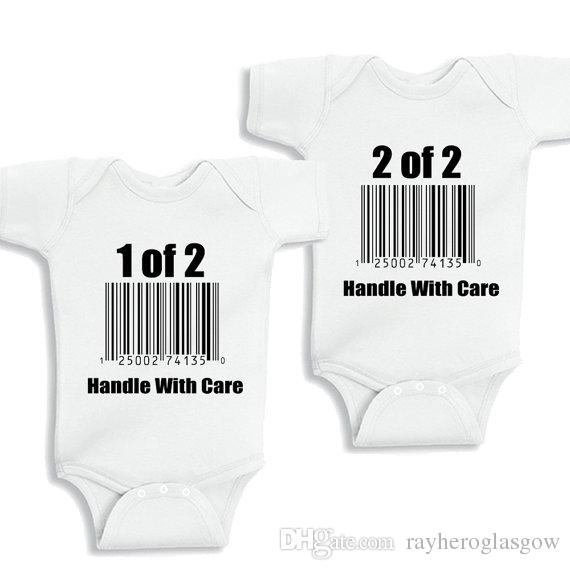 64dccaabe ... Gross Weight/Package: 0.15 ( kg ). Baby outfit Funny twins baby white  clothes ...