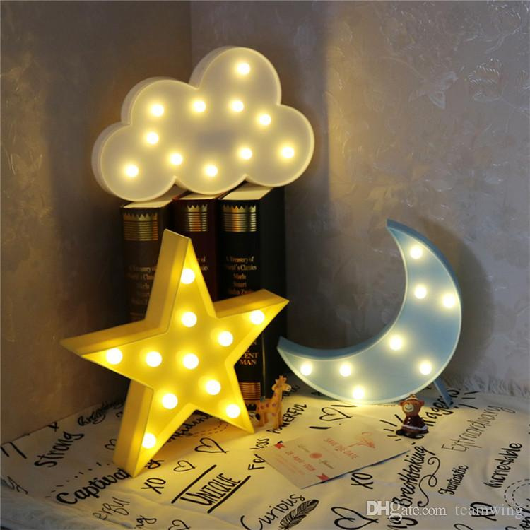 2018 Lovely Cloud Star Moon Night Light Led Marquee Sign Warm ...