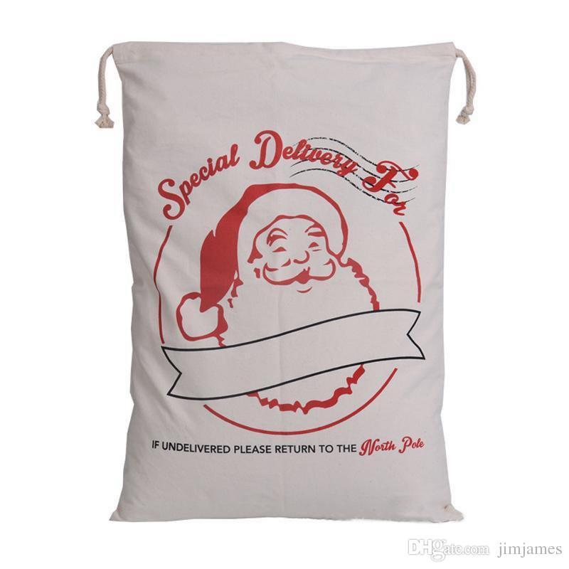 50 unids 2017 Navidad Gran Lona Monogrammable Bolsa de lazo de Papá Noel Con Renos, Regalos de Navidad Monogramas Saco Bolsas