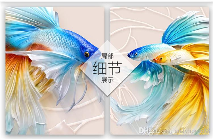 TV mur papier peint 3d 3d salon papier peint chambre sans soudure mur tissu non-tissé film peinture murale poisson