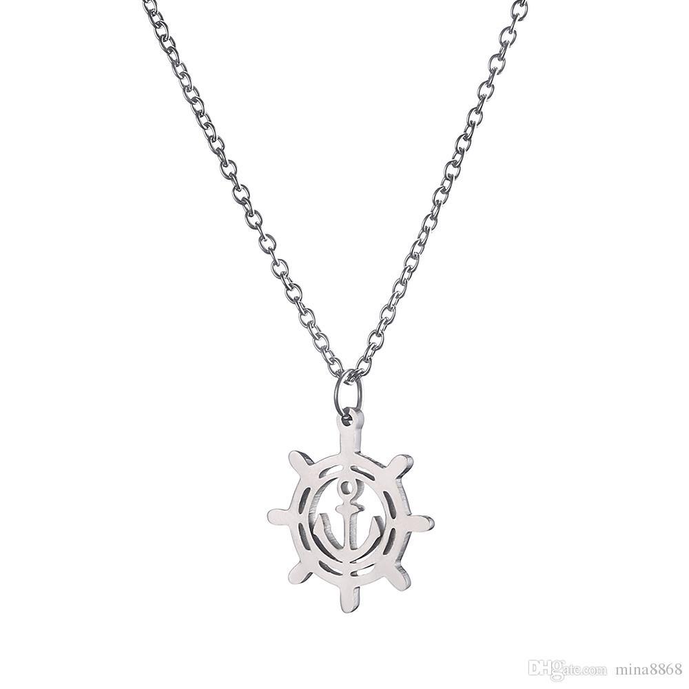Anchor Necklaces&Pendants For Men Women Stainless Steel Silver Tone Rudder Pendant Necklaces Men Jewelry Maxi Necklace Wholesale