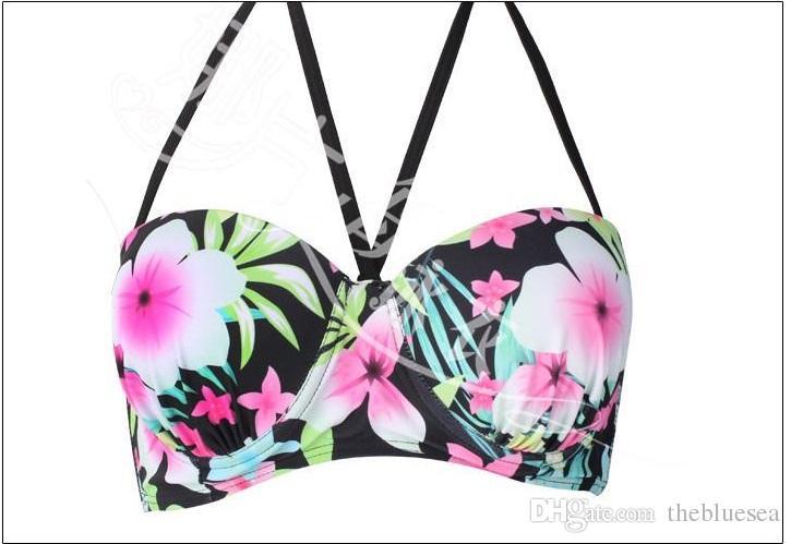 Seksi Kadınlar gazlı bez tül baskı çiçek Bikini etek Seti Mayo artı boyutu moda sırf Mayo Biquini Mayo tankinis set