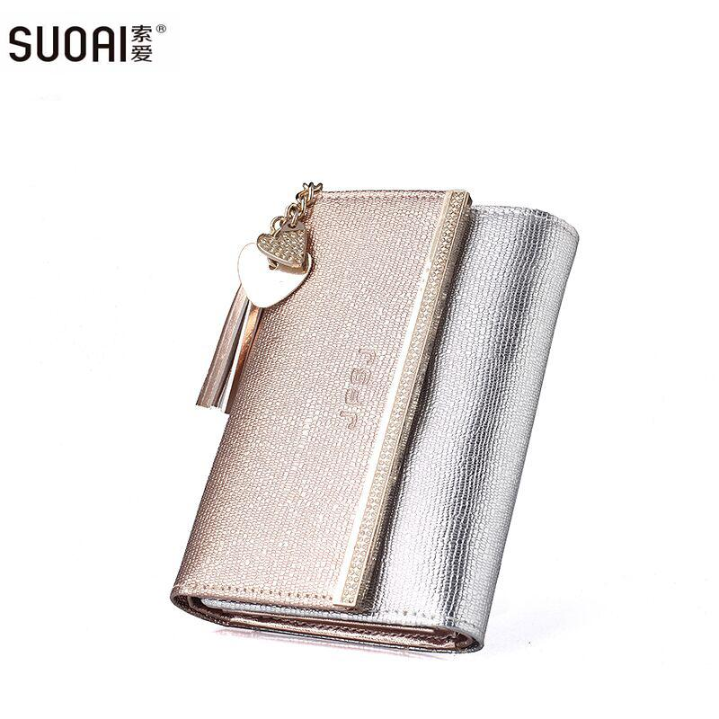 f5e80b74904d Wholesale- SUOAI New Genuine Leather Wallet Women Long Purse Lady Fashion  Wallets Dollar Price