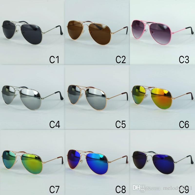 Kinder Sonnenbrillen 9 Farben Aktualisierte Kinder Pilot Sonnenbrille Metall Rahmen UVA / B Schutz mit Spiegel Lenes