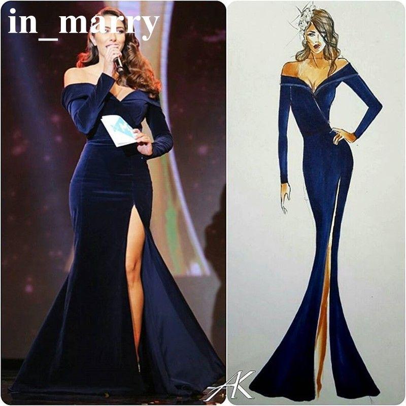 2017 Royal Blue Mermaid Velvet Celebrity Evening Dresses