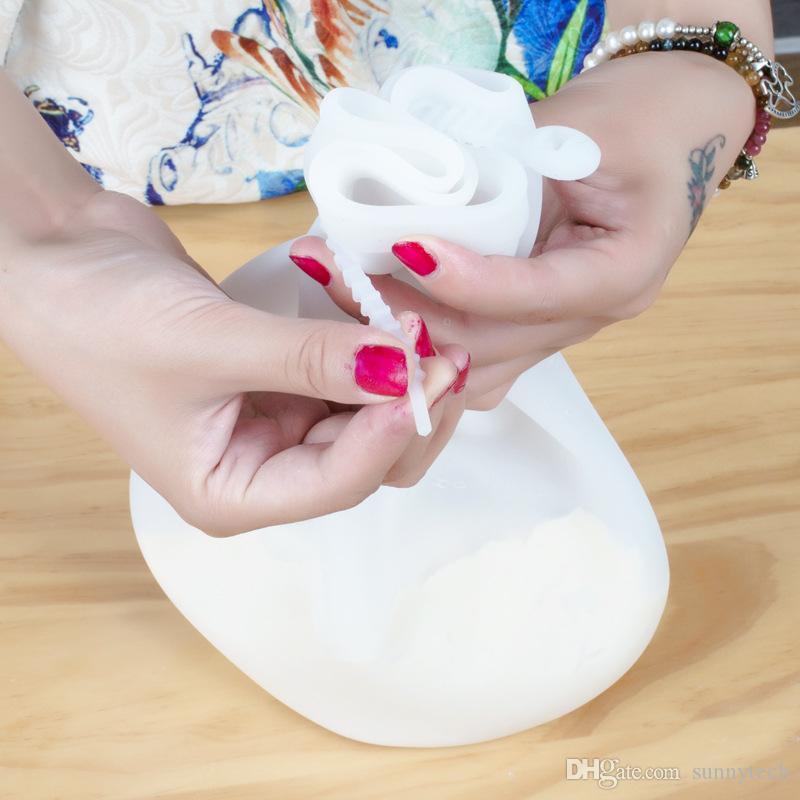 New diy ferramentas de pastelaria de cozinha preservação de silicone macio amassar massa saco de farinha saco de mistura mulheres ferramenta de cozinha s2017353