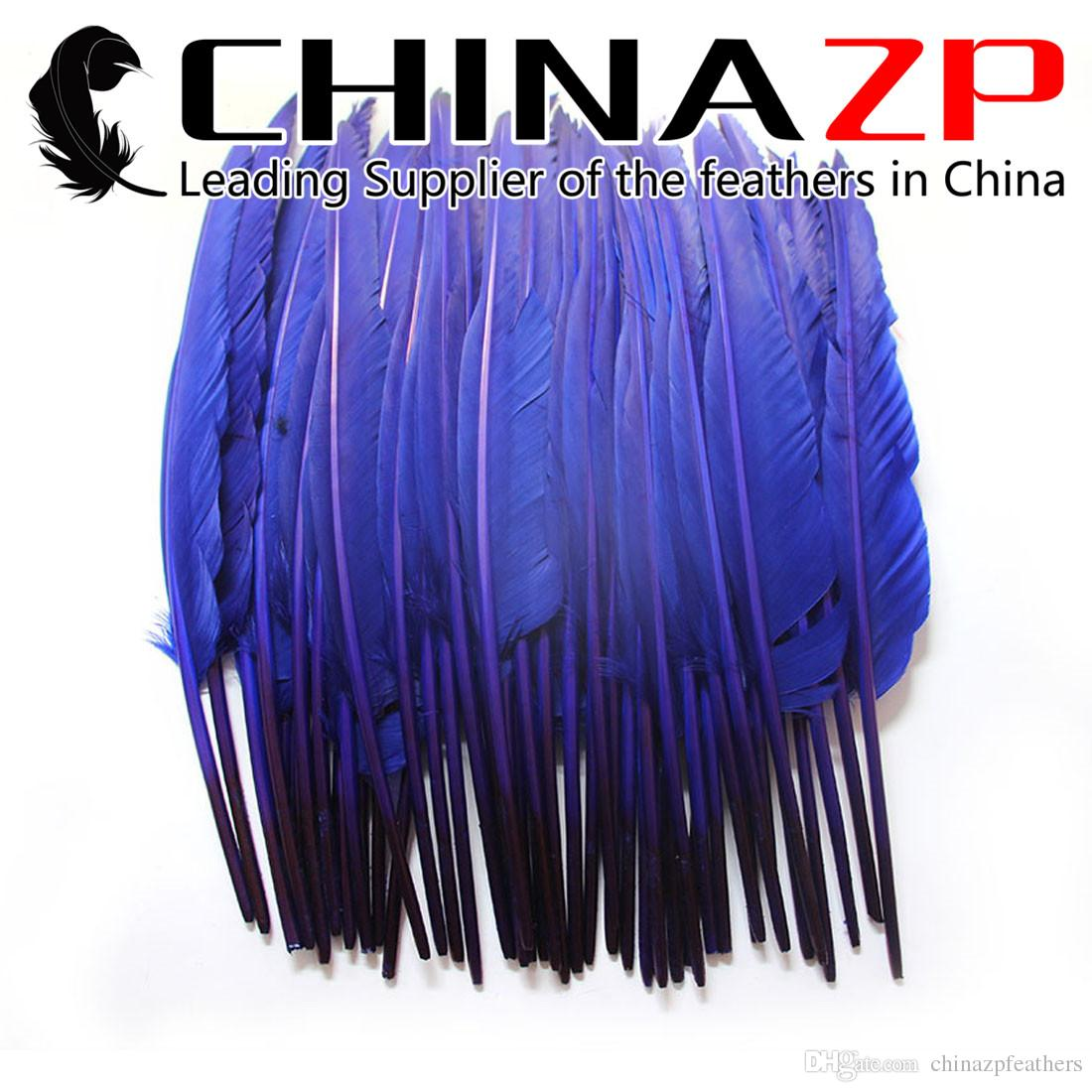 Leading Supplier CHINAZP Crafts Factory 100pcs 25~30cm(10~12inch) Hand Select Dyed Royal Blue Goose Primary Pointer Feather For Decoration