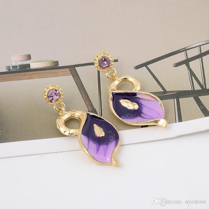 Set di gioielli da sposa in smalto di cristallo austriaco placcato in oro giallo 18k Set di gioielli con fiori Set di orecchini con collana a catena