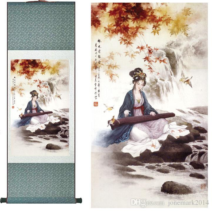 portrait painting Home Office Decoration Chinese painting women art painting zhao jun Chu sai Silk Wall Art Scroll Hang Picture