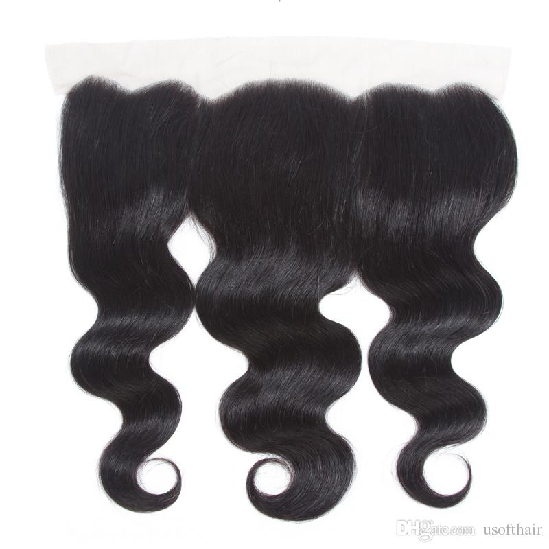 Straight 8A Brazilian Virgin Hair Body Wave 3 Bundles with Ear to Ear13*4 Frontal Closure Peruvian Wet and Wavy Human Hair