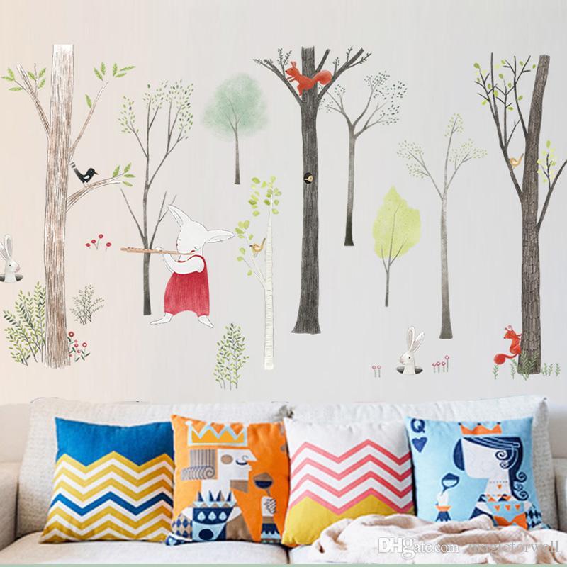 Northern Europe Cartoon Woodland Wall Sticker Home Decor for Nursery Kids Room TV Background Bedroom Wallpaper Poster Art Mural Rabbit Decal