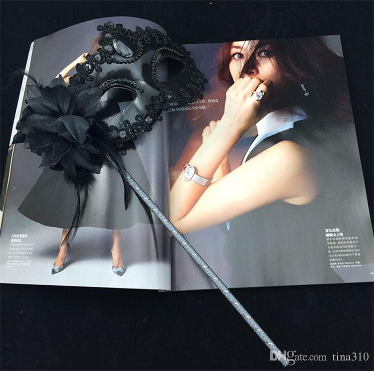 Luxus Frau Maske auf Stick Sexy Eyeline Venezianischen Masquerade Party Maske Pailletten Spitze Rand Seitliche Blume Gold Silber Schwarz Weiß Farbe I054